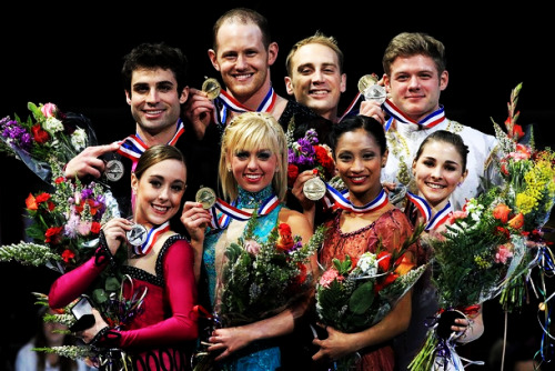 The pairs medalists at the 2012 U.S. National Championships. 1. Caydee Denney and John Coughlin 2. Mary Beth Marley and Rockne Brubaker 3. Amanda Evora and Mark Ladwig 4. Gretchen Donlan and Andrew Speroff