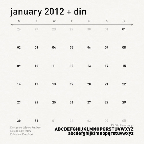 last days to get the special offer on Etsy.  SketchThisOut 2012 Calendar, 12gorgeous pin-ups leading you through the chaotic world of font foundries and typography. this is FF Din aka January. As a follow-up the sporty Carla.