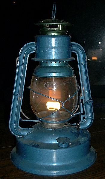 Old school kerosene lamp. I remember having these back home :)