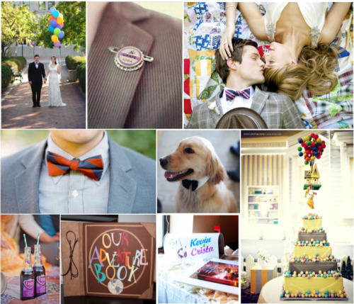 Up is one of the most requested Disney-themed weddings. Who wouldn't want to start their marriage the same way as Carl and Ellie? I have only one problem with Up inspired weddings: I hate balloons as wedding decorations. I know it makes sense for the Up theme, but balloons in general just scream tacky to me. I always think of those balloon arches at proms of the 80s. As you can see, the only instance I allowed balloons for this wedding was the bridal portrait (and the fake ones for the cake). One thing I really want to mention is the mailbox next to the cake, used as a collection for cards. And, of course, a dog for the best man.Great Ideas that Aren't on the BoardI really like the idea of the Bride's bouquet (or the Bridesmaids dresses) being the same colors as Kevin (the bird) While looking for photos I came across this and love how the bride's bouquet has the same pin as the groom is wearing The favors should be little badges (like the scout badges) for fun things that describe the couple