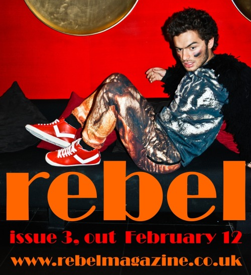 namal: Out February 12th, issue 3 of Rebel Magazine, featuring some amazing design talent, writers, accessories, make-up artists, locations, and new faces.   Image from issue 3 editorial, model Sebastian de Souza at the KUMO bar.