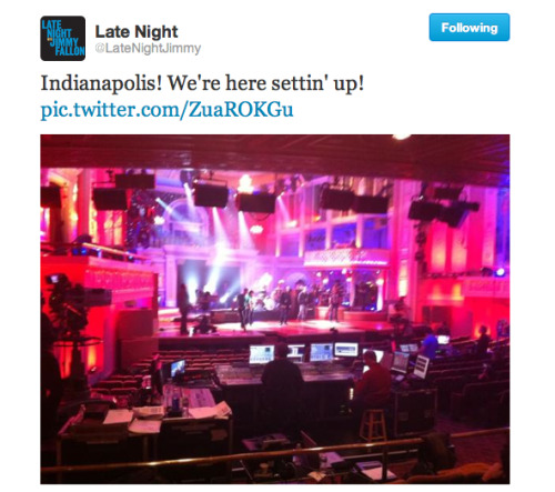 I'VE NEVER WANTED TO BE BACK IN INDY MORE THAN THIS WEEK latenightjimmy:  It's happenin' y'all! Late Night in Indy!
