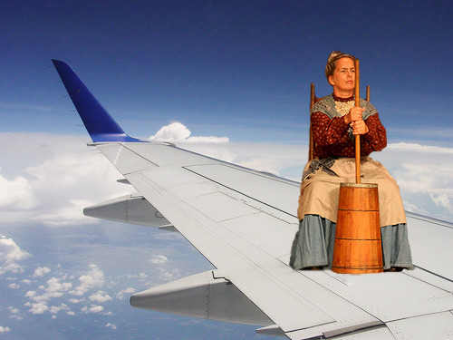 There is a Colonial woman on the wing! I saw her! There's something they're not telling us! She was churning butter!