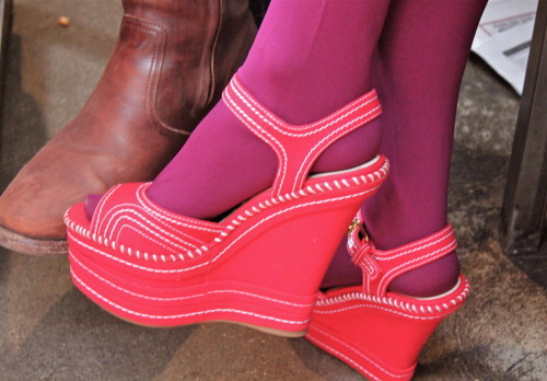 "brown boot —""Dragon"" by Laco$te red wedges —""House of Love"" by Terminal Twilight"