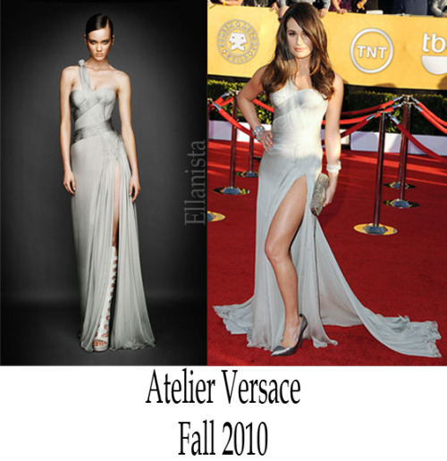 Red Carpet Fashion  Lea Michele wore an Atelier Versace dress, Casadei shoes, and a Fendi clutch to the SAG Awards at the Shrine Auditorium in Los Angeles.