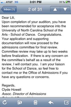 Ahhhhhhhhh!!!!!!!!!! So excited!!!!!!! One step closer to getting in!!!!!!!!!!