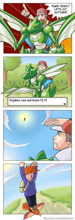 gamingcomics:  Scyther Can't Fly by rounindx [Original {paint style} Version by paintfag]