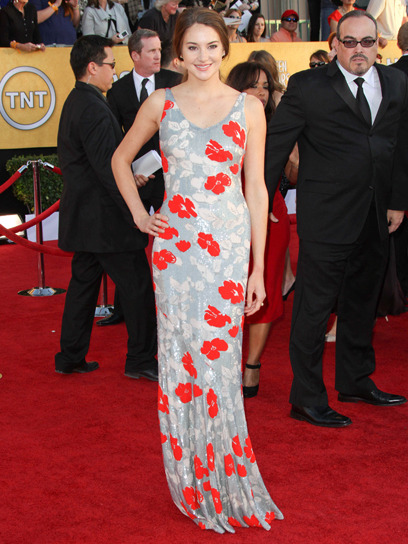 Party-hopping: Shailene Woodley donned a floor-skimming floral gown by L'Wren Scott at last night's SAG Awards. Check out more red carpet photos here »