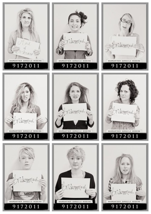 firstcomeslove:  Bridal Party Morning After Mugshots