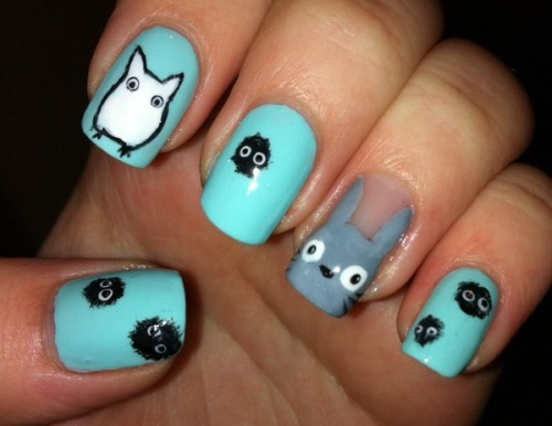 beautylish:  Check out Beautylish Beauty Zoe F.'s cute Totoro Nails!