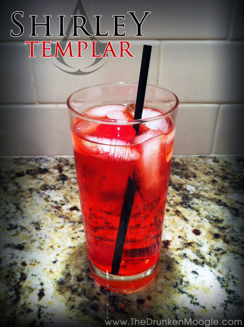 "Shirley Templar (Assassin's Creed cocktail) Ingredients:Ginger AleSprite1.5 oz. gin1.5 oz. grenadine1 maraschino cherry Directions:In a highball glass with ice, fill most of the glass half with Sprite, half with ginger ale, leaving a bit of room at the top.  Mix in a shot of grenadine and a shot of gin.  Place a maraschino cherry on the top and serve. Patron: ""Shirley Templar? What's in it?""Desmond: ""The usual, I just add some gin.""A Shirley Temple is traditionally a non-alcoholic drink. In Assassin's Creed: Revelations, it is revealed that Desmond makes his own alcoholic version of the drink, dubbed a Shirley Templar, by adding gin. Drink created and photographed by The Drunken Moogle (Twitter) Via: thedrunkenmoogle"
