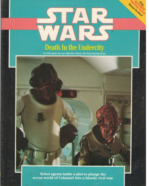 """Death In The Undercity"" Star Wars D6 Roleplaying Game Adventure Book, 1990 being sold by eBay user comic-madness for $9.49"