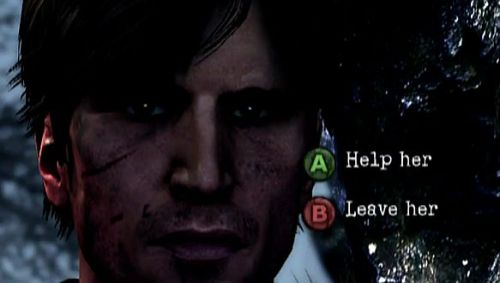 "silenthaven:  Silent Hill: Downpour to Have Moral Choice System Click the source link below to read Byte Now's view on the button pressing style of moral choices in Downpour. Source: Byte Now  Why does this make me laugh so much  Can I have an in between option like ""Walk towards her, stare at her, walk away, then shout ""ARE YOU OKAY"" accross town"" or something? That seems more natural to me.   Also I really hope it always zooms right the fuck in on his face like this."