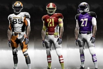 New NFL Uniforms: Designed by Nike. In 2012 Nike will replace Reebok as the provider for NFL jerseys. Nike is the main provider and has designed jerseys for several college football teams, including Oregon. They had their Nike Pro Combat campaign in 2009 where they released jerseys for almost every college football team, and now Nike is coming to the NFL where they will be responsible for new designs for every team.   Check out more uniforms and read more about this at The Bleach Report.  Da FUNK you got to say?