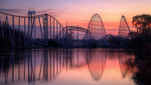 Dorney Park's Steel Force at Sunset