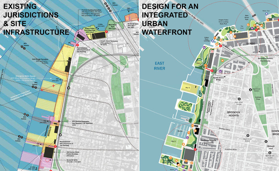 Rendered site plan for the Brooklyn Bridge Park (2010-) by MVVA in Brooklyn, New York.