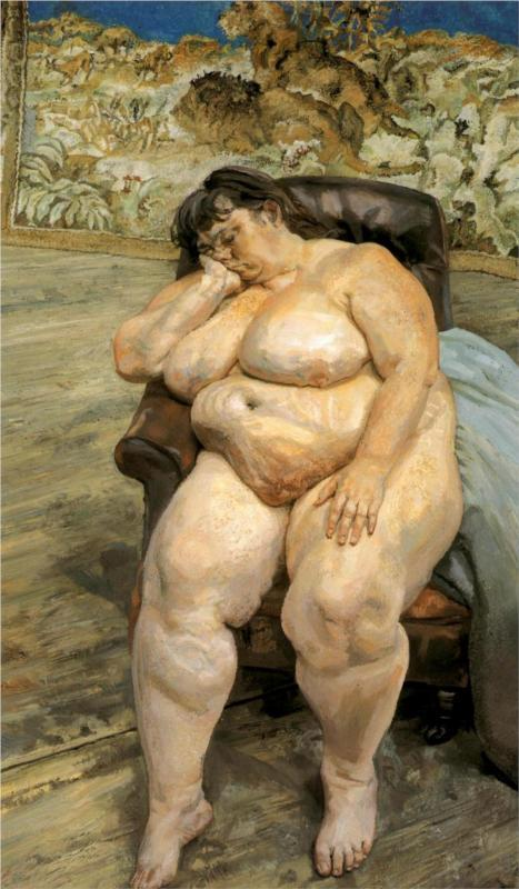 thefineartnude:  Lucian Freud, Sleeping by the Lion Carpet (also known as Sue Tilley), 1996