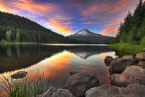 Sunset at Trillium Lake with Mount Hood - HDR (by David Gn Photography) Oregon