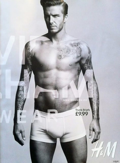 Eye Candy: David Beckham Victoria Beckham's soccer playing hubby, David Beckham, lends his beautiful body to the H&M Game Day campiagn. Enough talk! Drool over David in black and white wearing nothing but H&M Bodywear.