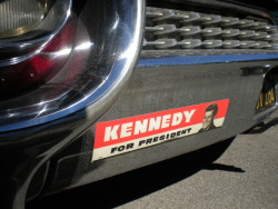 O.G. Vote Kennedy sticker. On a 59' Cadillac family car