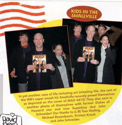 Scan of a MAD Magazine item with pictures of Tom Welling, Michael Rosenbaum, Kristin Kreuk and John Schneider reenacting the Smallville MAD Magazine cover.