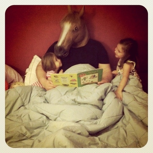 "keithphipps:  Terrifying horse mask has the greatest customer image gallery on Amazon Over the course of editing today's ""When The Commentariat Attack"" Inventory I ran across this terrifying horse mask. What I didn't realize until now is that the terrifying horse mask has an amazing gallery of customer images. My favorite is above. There are eleven pages of such photos. Enjoy, and sleep well."
