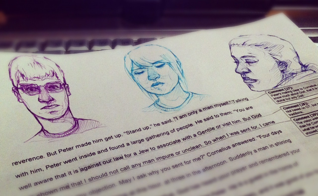 Sketches during Bible study, too!