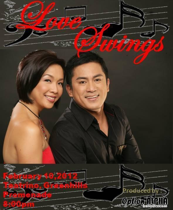 LOVE SWINGS at Teatrino 10 Feb 2012 | Teatrino   Isay Alvarez Seña and Robert Seña's Valentine show with Mel Villena and the AMP Big Band, come swing and enjoy the night!   Call MUSIC MUSEUM 721-6726 for tickets.