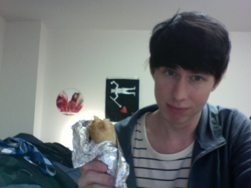 Munching on a tasty shawarma. This is what happiness tastes like