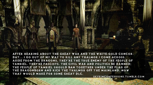 "skyrimconfessions:  ""After  hearing about the Great War and the White-Gold Concordat… I go out of  my way to kill any Thalmor I come across. Aside from the Dragons,  they're the true enemy of the people of Tamriel. They're fascists. The  Civil War and politics be damned; the people of Tamriel should ban  together under the flag of the Dragonborn and kick the Thalmor off the  mainland. Now THAT would make for some great DLC.""  http://skyrimconfessions.tumblr.com/"