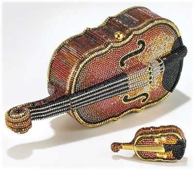 Judith Leiber violin handbag and matching violin pillbox.
