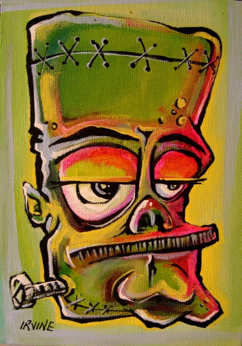 "gnarledbranch:  ""Frankie"" acrylic on canvas board"