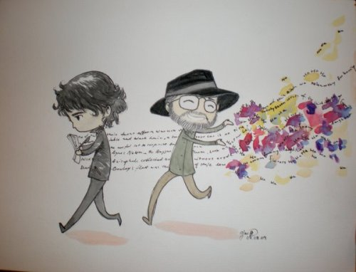 neil-gaiman:  (From Littledogstar's DeviantArt) A piece of art I was given that still makes me smile…: How Good Omens Was Not Written   At the Neil Gaiman Q&A at Anticipation (Worldcon09) in Montreal, he mentioned something about how people tend to believe that he wrote the plot to Good Omens and Terry Pratchett went after him strewing all the jokes.The original now belongs to Neil, thus why I don't have a proper scan but merely a photograph. 8)Neil and Terry belong to themselves. >_>