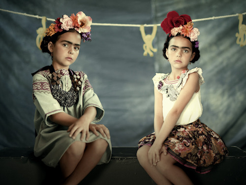 "Being an art history geek and a huge fan of Frida Kahlo, I can't decide whether I find this image creepy or fantastic. Either way, no one can argue with the incredible styling of the two ""mini Fridas"" ~lili  mirnah:  Two mini Fridas by Olga Laris"
