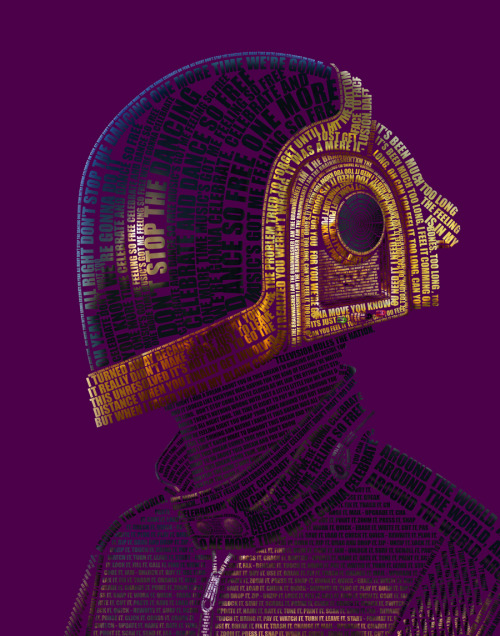 "Technologic-Daft Punk Jonas Fleuraime ""A type portrait of Guy-Manuel de Homem-Christo, also known as one half of Daft Punk."""