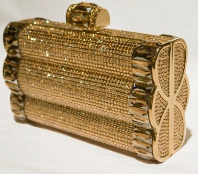 Gold bedazzled clutch from Judith Leiber fall 2011 collection.