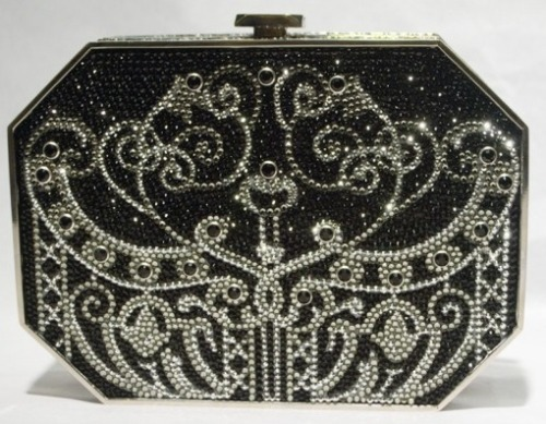 Black and silver bedazzled clutch from Judith Leiber fall 2011 collection.