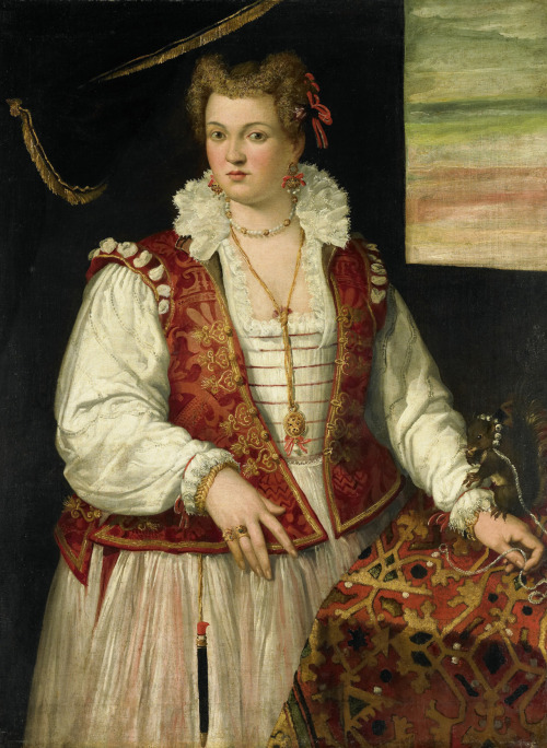 Portrait of a woman with a squirrel 1565-75 Francesco Montemezzano