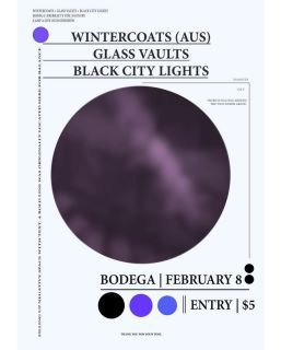 New Zealand Shows: Next WeekWellington, Bodega - Feb 8th w/ Glass Vaults + Black City LightsCamp A Low Hum - Feb 10th - 12th