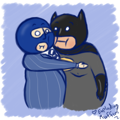 explodingmuffins:  Fat Spy gives Fatty Batty an awkward hug.  Look how awesome this is! Muffins has drawn her own cute fat character interacting with our beloved fatbat! Give more of her art a looksie. :D