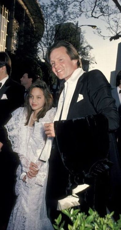 Angelina Jolie and her father Jon Voight, 1986