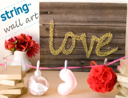 'love' string wall art for Valentine's Day