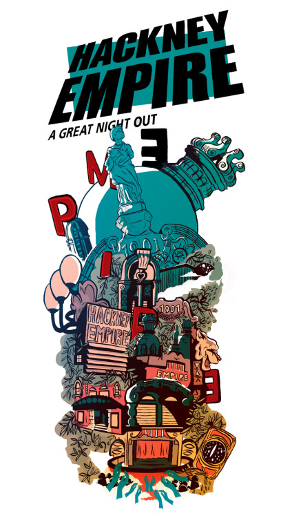My brochure cover illustration for the wonderful Hackney Empire in London.  It'll be out February 1st all over London and probably beyond, it was a real pleasure to be involved. My thanks go out to Nadia Syed for art direction and marketing support.