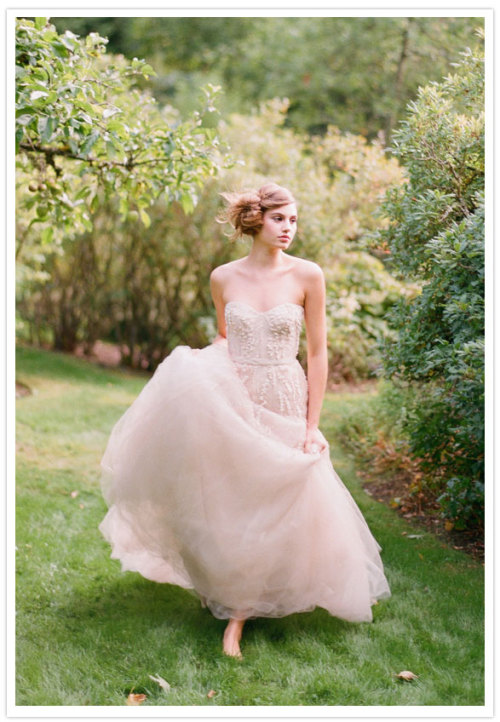 Monique Lhuillier embroidered illusion tulle blush-colored gown. (via Bella Luna Farms bridal shoot by Elizabeth Messina | 100 Layer Cake)