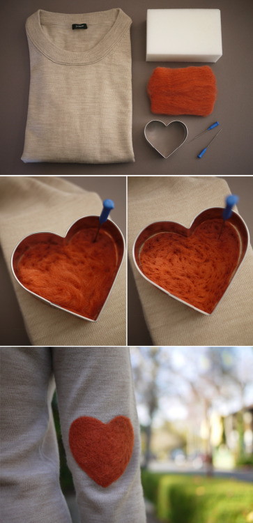 enimie:  DIY Elbow patch via Honestly…WTF So trying this myself, just ordered a bunch of wool roving off eBay!