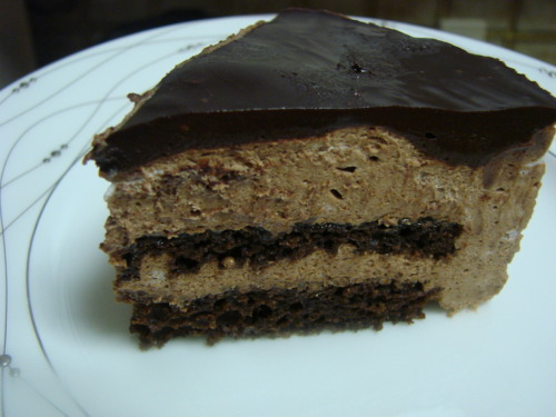 fuiru:  You can call this Bourbon-infused chocolate mousse cake with a dark-chocolate ganache on top. Me? I'm calling it breakfast.