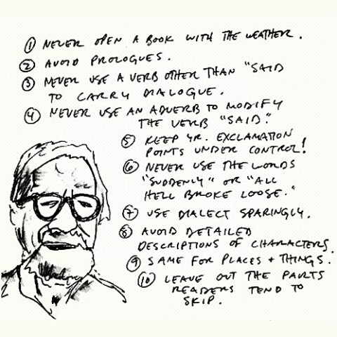 curiositycounts:  Elmore Leonard's rules for good writing. More rules by Henry Miller, Margaret Atwood, Neil Gaiman & George Orwell. And timeless advice from Stephen King, Anne Lamott, Ray Bradbury, and more.