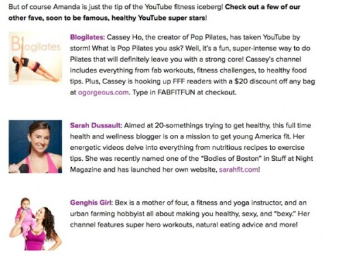 Have you heard of Fab Fit Fun? It is a women's lifestyle  newsletter that was created by Giuliana Rancic. They send out  newsletters just about every day, and yesterday I was featured as one of  their favorite YouTube trainers! I was so excited to be included along with my buddies Cassey and Bex. Today on my blog Sarah Fit, I am sharing a giveaway exclusively for Tone It Up members as well as a brand new slow cooker recipe, Chicken Cacciatore!
