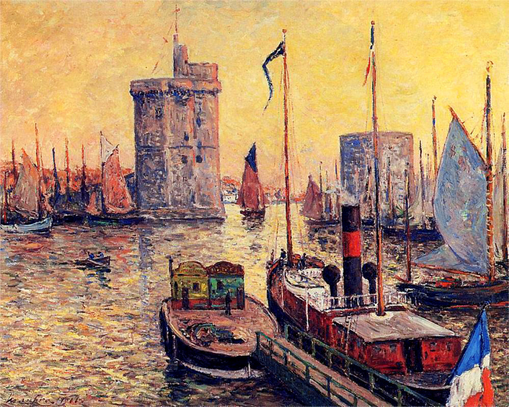 worldpaintings:  Maxime Maufra The Port of La Rochelle at Twilight, 1911, oil on canvas, private collection. Maxime Maufra was a French landscape and marine painter, etcher  and lithographer. In his paintings, Maufra sometimes quoted the  technique of Pissarro or Sisley, and also took from the strong colors and powerful drawing of the Pont Aven school. However, he stayed an independent artist his all life through, and dedicated his art to recording the beauty of nature.  Days and days of La Rochelle sunsets. Moules au curry. And Billy Joel, for some reason.