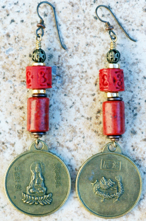 Red China Coral Earrings: Chinese Red Coral, Cinnabar and Brass Dragon Coin Dangle Earrings